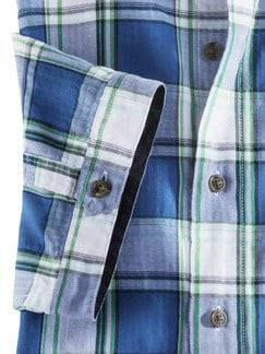 Crashoptik-Hemd Sommerkaro Weiß/Blau Detail 4