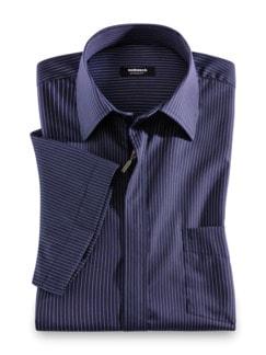 Extraglatt-Hemd Reißverschuss Streifen Blau Detail 1