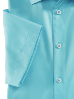 Extraglatt-Hemd Walbusch-Kragen Uni Aqua Detail 4