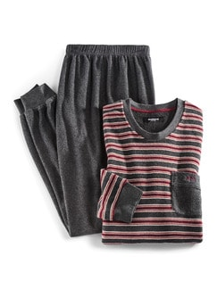 Frotteestreifen-Schlafanzug Anthra/Rot Detail 1