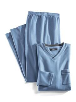 Thermo-Schlafanzug Jeansblau Detail 1