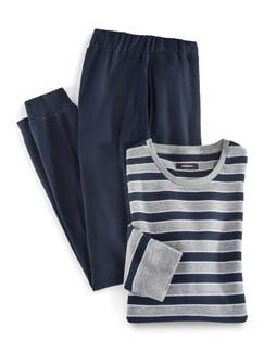 Klimakomfort Pyjama Bretagne Grau/Marine Detail 1
