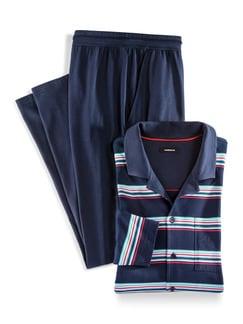 Streifen-Pyjama Bottone Marine Detail 1