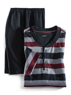 Streifen-Shorty Nautical Marine/Grau/Rot Detail 1
