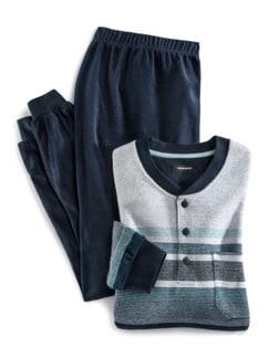 Frottee-Schlafanzug Winterwarm Marine/Blau Detail 1