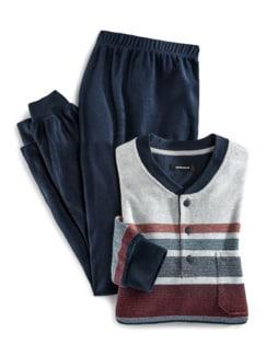 Frottee-Schlafanzug Winterwarm Marine/Terra Detail 1