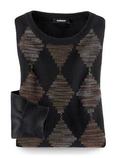 Argyle- Pullover Tramato Schwarz/Terra Detail 1