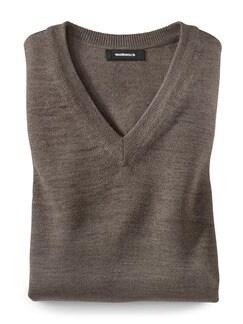 Merino-Mix V-Pullover Taupe Detail 1
