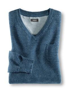 V- Pullover Flammengarn Jeansblau Detail 1
