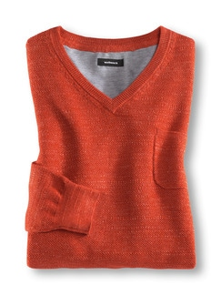 V- Pullover Flammengarn Orange Detail 1