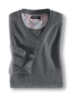 Baumwoll Pullover Grau Melange Detail 1
