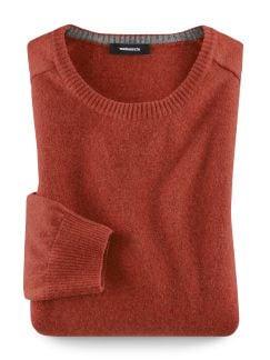 Lambswool Rundhals-Pullover Ziegelrot Melange Detail 1