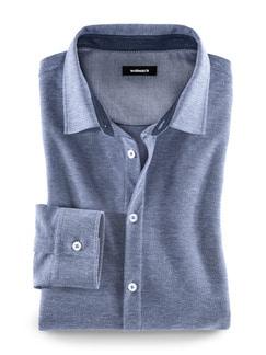Jersey-Hemd Pfeffer & Salz Blau Detail 1