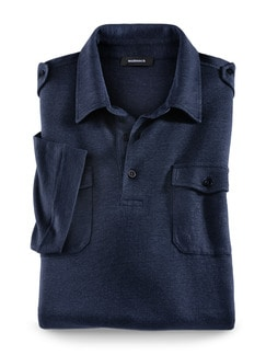 Leinen-Polo Navy Detail 1