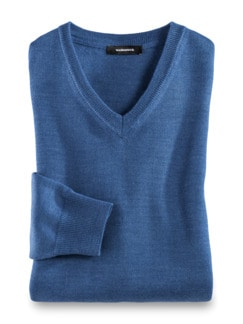 Merino-Mix V-Pullover Mittelblau Detail 1