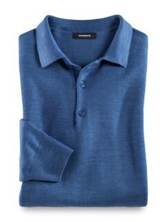 Merino-Mix Polo-Pullover Mittelblau Detail 1