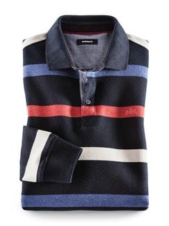 Polo-Pullover Maritim Schmal Gestreift Blau Detail 1