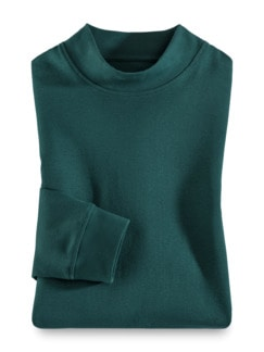 Langarm-Shirt Stehkragen Clubgrün Detail 1