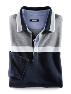 Langarm-Polo Tricolore Navy Detail 1