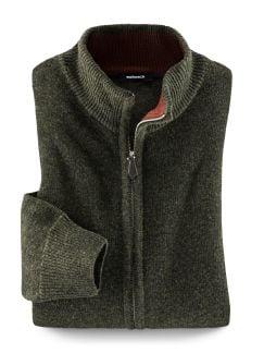 Zip-Cardigan Super Geelong Khaki Detail 1