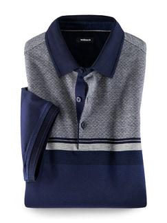 Streifen Polo Blau/Grau Detail 1