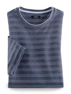 Extraglatt-Shirt Jacquard Streifen Blau Detail 1