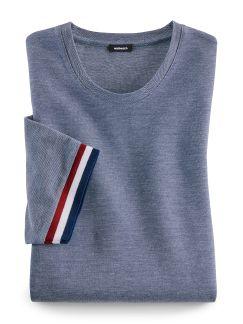 Rundhals T-Shirt Tricolore Blau/Weiß Detail 1