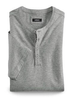 Henley Shirt Kurzarm Grau Melange Detail 1
