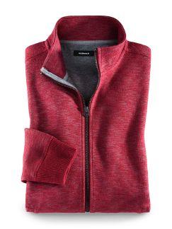 Strickfleece Zip-Jacke Rot Melange Detail 1
