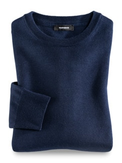 Merino-Mix Rundhals-Pullover Königsblau Detail 1