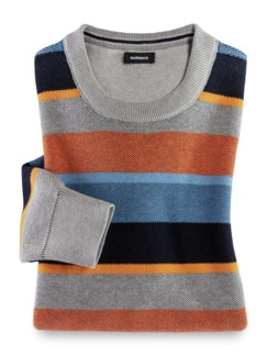 Streifen-Pullover Soft Cotton Azur/Orange Detail 1