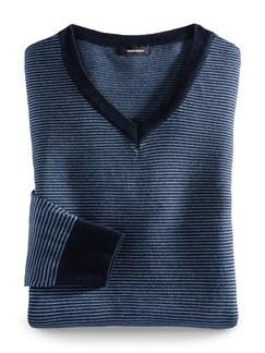 Streifen V-Pullover Merino-Mix Marine/Blau Feingestreift Detail 1