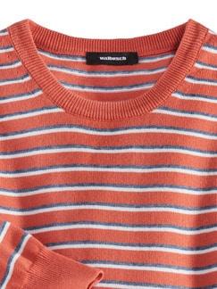 Leicht-Pullover Sommerringel Orange Detail 3