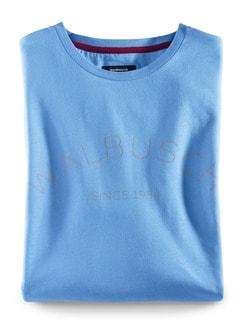 Rundhals Shirt Walbusch Edition Jeansblau Detail 1