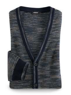 Strickjacke Reiskorn Blau/Beige Detail 1
