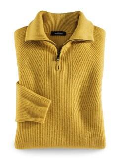 Ripp-Pullover Nahtlos Gelb Detail 1