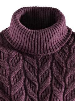 Zopf-Pullover Himalaya-Wolle Bordeaux Detail 3