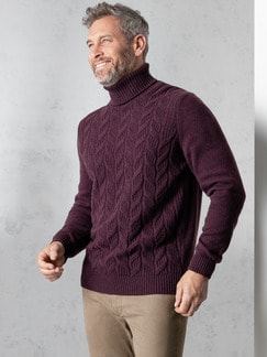 Zopf-Pullover Himalaya-Wolle Bordeaux Detail 2
