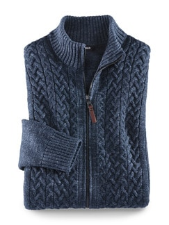 Zopf-Strickjacke Natural Cotton Blau Detail 1