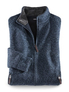 Zwei-Lagen-Strickjacke Winterwarm Blau Detail 1