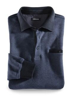 Polo-Pullover Farbeffekt Blau Detail 1