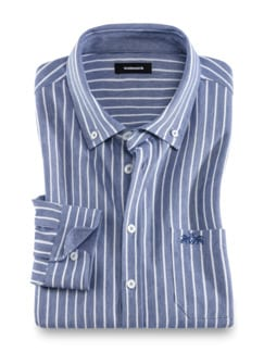 Extraglatt-Shirt Gentleman Blau gestreift Detail 1