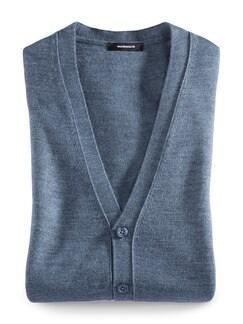 Strickweste Merino-Mix Jeansblau Detail 1