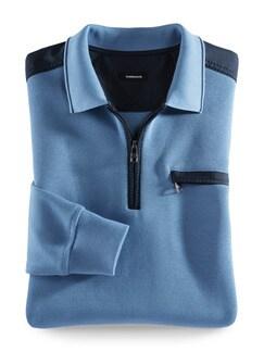 Extraglatt-Polo-Pullover 2.0 Mittelblau Detail 1