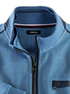 Wohlfühl-Pullover French-Rib Mittelblau Detail 3