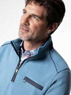 Wohlfühl-Pullover French-Rib Mittelblau Detail 4