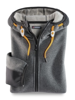 Klepper Woll-Strickfleece-Jacke Grau Detail 1