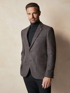 Wool-Blend Sakko Tollegno Bordeaux/Grau Detail 2