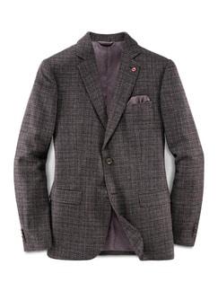 Wool-Blend Sakko Tollegno Bordeaux/Grau Detail 1