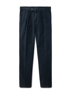Travel-Bundfaltenjeans Easycare Dark Blue Detail 1